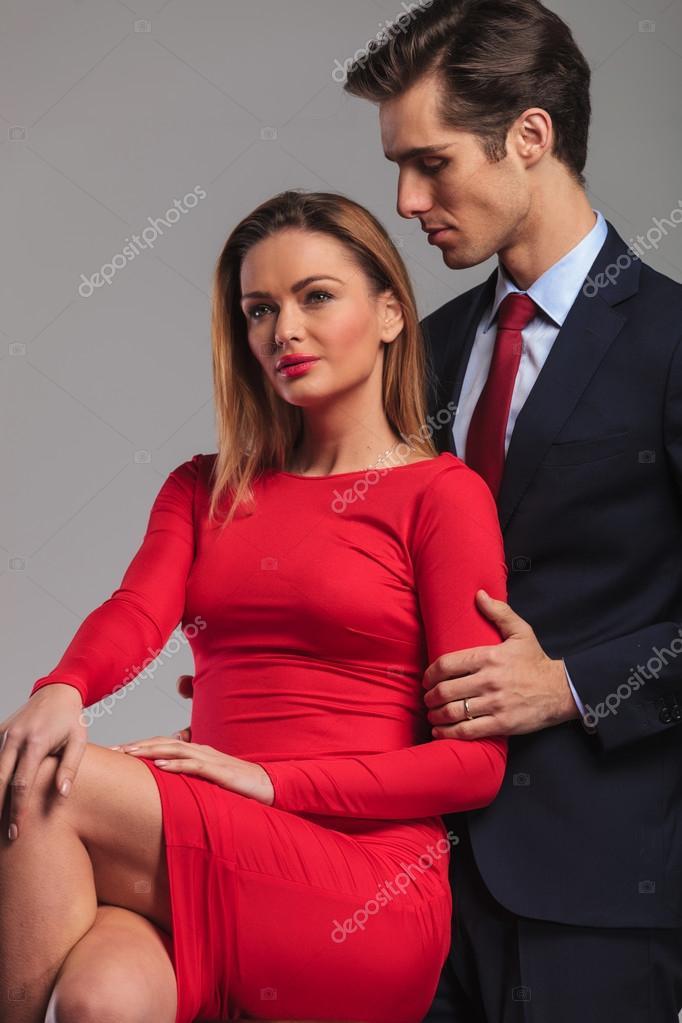 Фото жена в красном платье