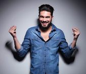 Man smilling and moving his hands — Stock Photo