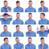 Photo set of casual young man expressions — Stock Photo