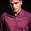 Casual handsome man wearing a red shirt  — Stock Photo #74187139