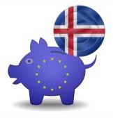 Piggy bank and euro european iceland — Stock Vector