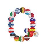 Lettera q euro moneta con bandiere — Vettoriale Stock