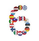 Número seis euromoneda con banderas — Vector de stock