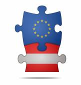 Puzzle pieces europe and austria — Stock Vector