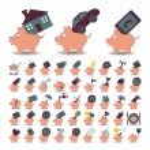 Set 48 icons piggy bank and savings — Stock Vector #55985293