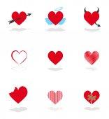 Set 9 hearts icons — Cтоковый вектор