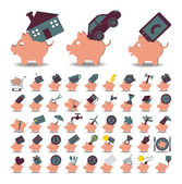 Set 48 icons piggy bank and savings — Stock Vector