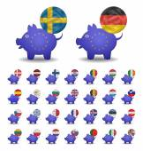 Set currencies flags and piggy bank europe — Stock Vector