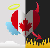 Canada angel and devil heart — Stock Vector