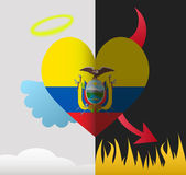 Ecuador angel and devil heart — Stock Vector