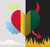 Guinea angel and devil heart — Stock Vector