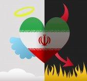 Iran angel and devil heart — Stok Vektör