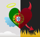 Portugal angel and devil heart — Stock Vector