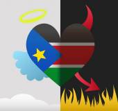 South Sudan angel and devil heart — Stock Vector