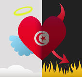Tunisia angel and devil heart — Stock Vector