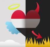 Yemen angel and devil heart — Stock Vector
