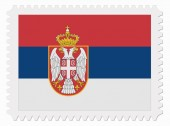 Serbia flag stamp — Stock Vector