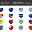 Ocenia hearts flags vector — Stock Vector #64940211