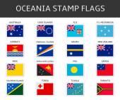Oceania stamps flags vector — Stock Vector