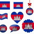 Cambodia flag set of 8 items vector — Stock Vector #65602923