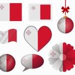Malta flag set of 8 items vector — Stock Vector #65603383