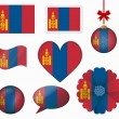 Mongolia flag set of 8 items vector — Stock Vector #65603487