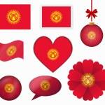 Kyrgyzstan flag set of 8 items vector — Stock Vector #65604143