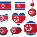 North Korea flag set of 8 items vector — Stock Vector #65604571