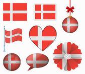 Denmark flag set of 8 items vector — Stock Vector
