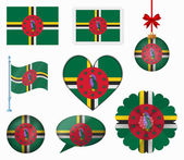 Dominica flag set of 8 items vector — Stock Vector