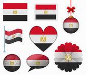 Egypt flag set of 8 items vector — Stock Vector
