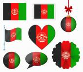 Afghanistan flag set of 8 items vector — Stock Vector