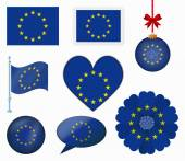 European Union flag set of 8 items vector — Stock Vector