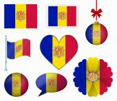 Andorra flag set of 8 items vector — Stock Vector