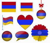Armenia flag set of 8 items vector — Stock Vector