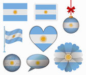 Argentina flag set of 8 items vector — Stock Vector