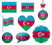 Azerbaijan flag set of 8 items vector — Stock Vector