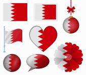 Bahrain flag set of 8 items vector — Stock Vector