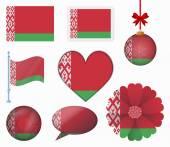 Belarus flag set of 8 items vector — Stock Vector