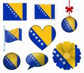 Bosnia and Herzegovina flag set of 8 items vector — Stock Vector