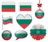 Bulgaria flag set of 8 items vector — Stock Vector