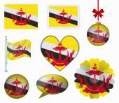 Brunei flag set of 8 items vector — Stock Vector