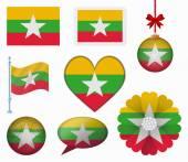 Burma flag set of 8 items vector — Stock Vector