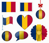 Chad flag set of 8 items vector — Stock Vector