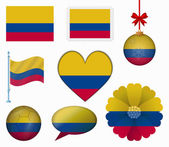Colombia flag set of 8 items vector — Stock Vector