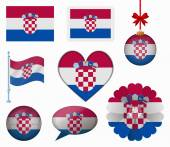Croatia flag set of 8 items vector — Stock Vector