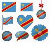 Democratic Republic of the Congo flag set of 8 items vector — Stock Vector