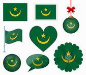 毛里塔尼亚标志设置的 8 项矢量 — 图库矢量图片