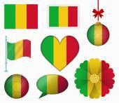 Mali flag set of 8 items vector — Stock Vector
