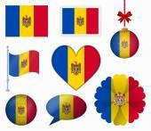 Moldova flag set of 8 items vector — Stock Vector